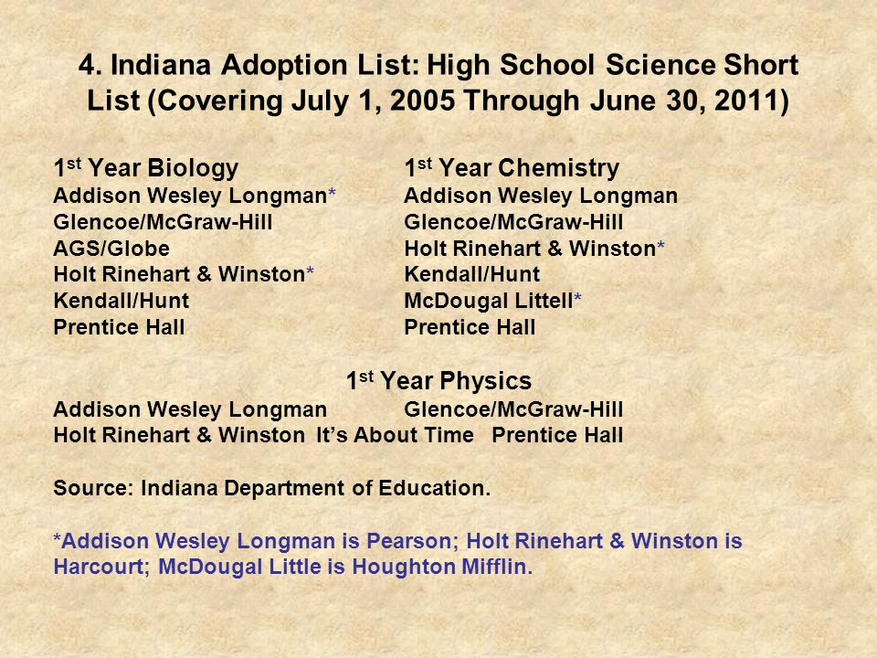 4. Indiana Adoption List: High School Science Short List (Covering July 1, 2005 Through June 30, 2011)