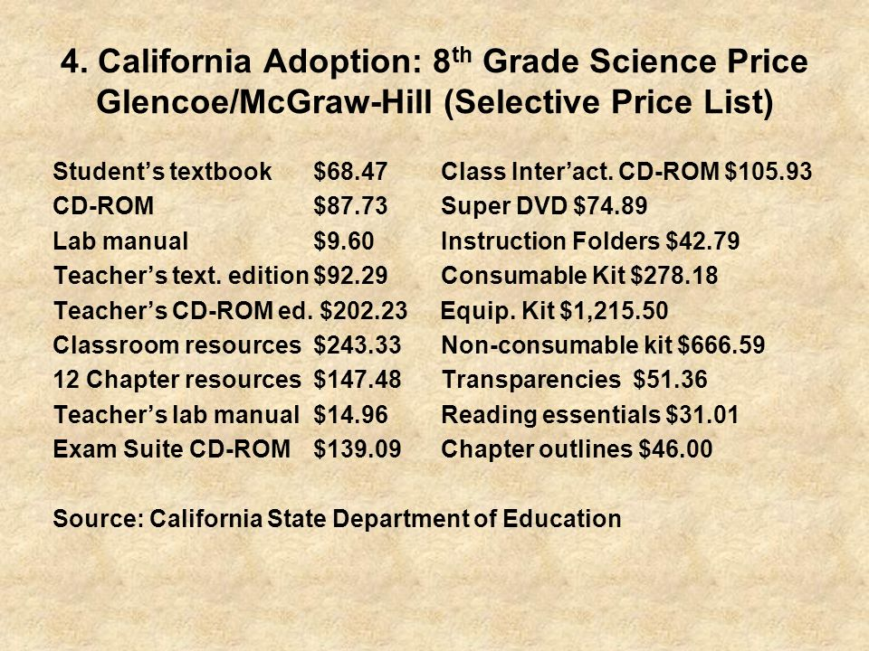 4. California Adoption: 8th Grade Science Price Glencoe/McGraw-Hill (Selective Price List)