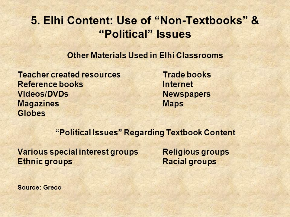 5. Elhi Content: Use of Non-Textbooks & Political Issues