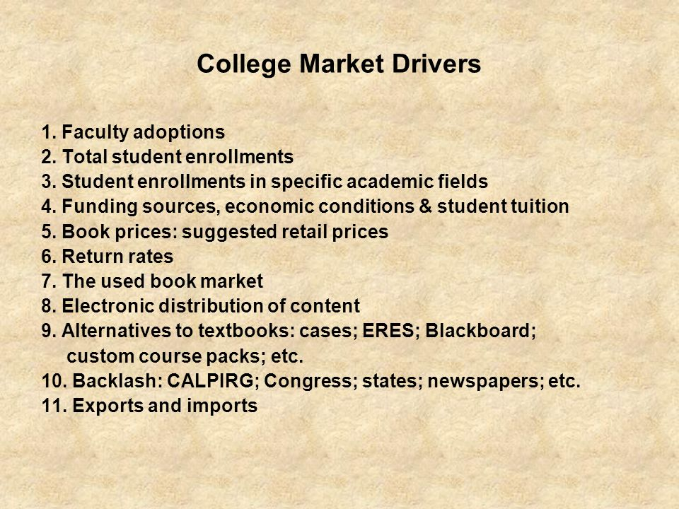 College Market Drivers
