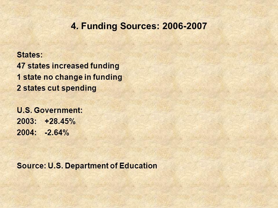 4. Funding Sources: 2006-2007 States: 47 states increased funding