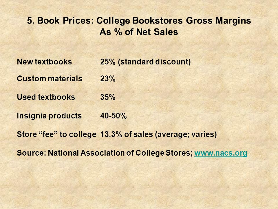 5. Book Prices: College Bookstores Gross Margins As % of Net Sales