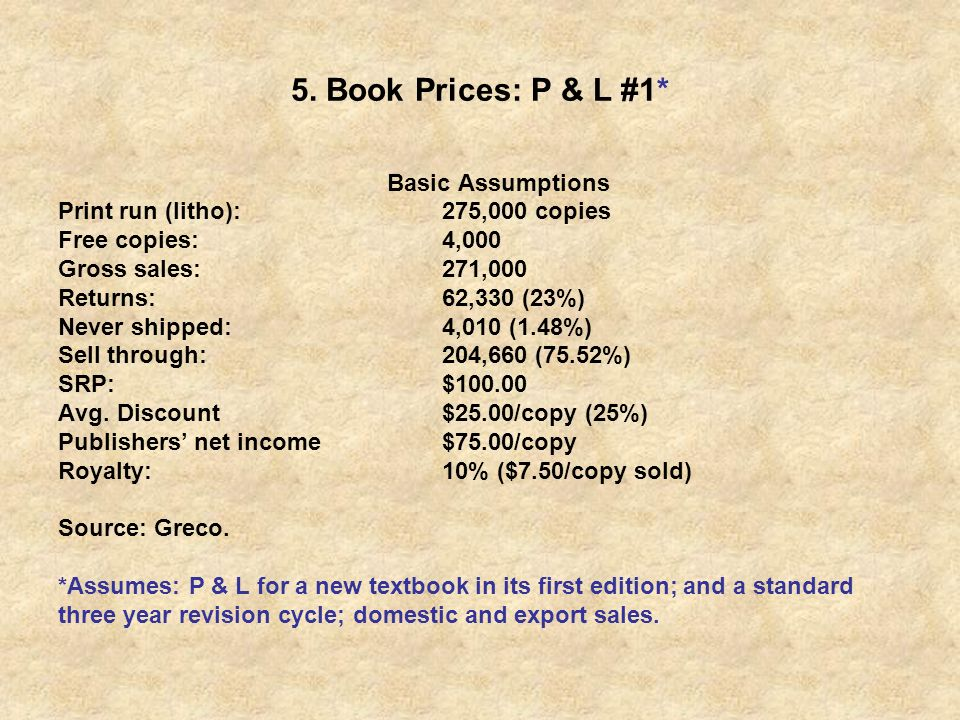 5. Book Prices: P & L #1* Basic Assumptions