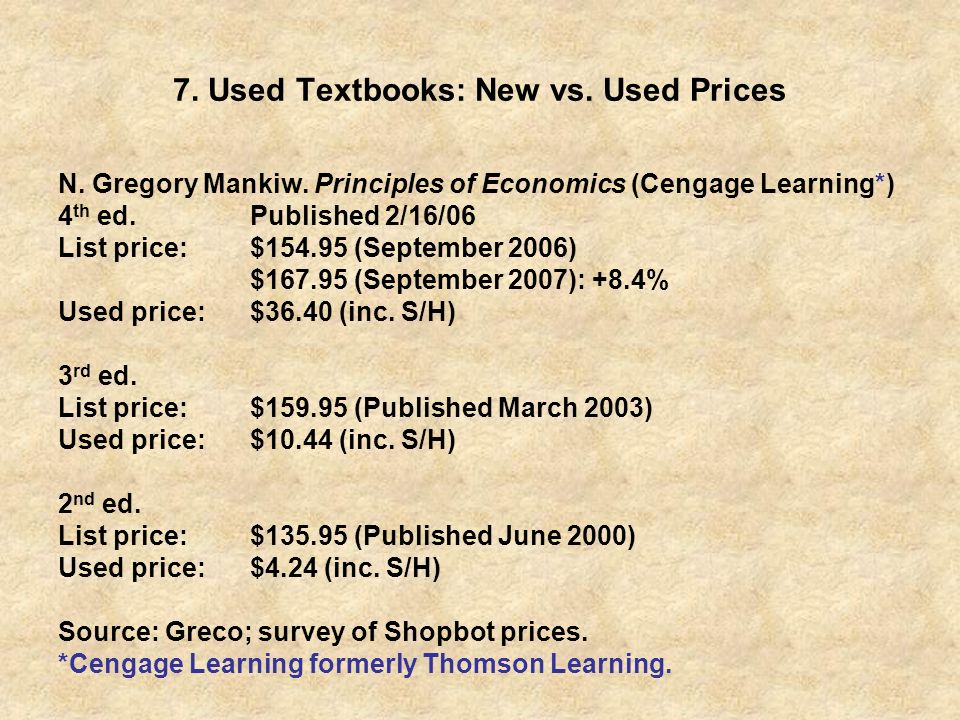 7. Used Textbooks: New vs. Used Prices