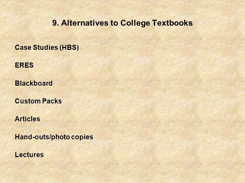 9. Alternatives to College Textbooks