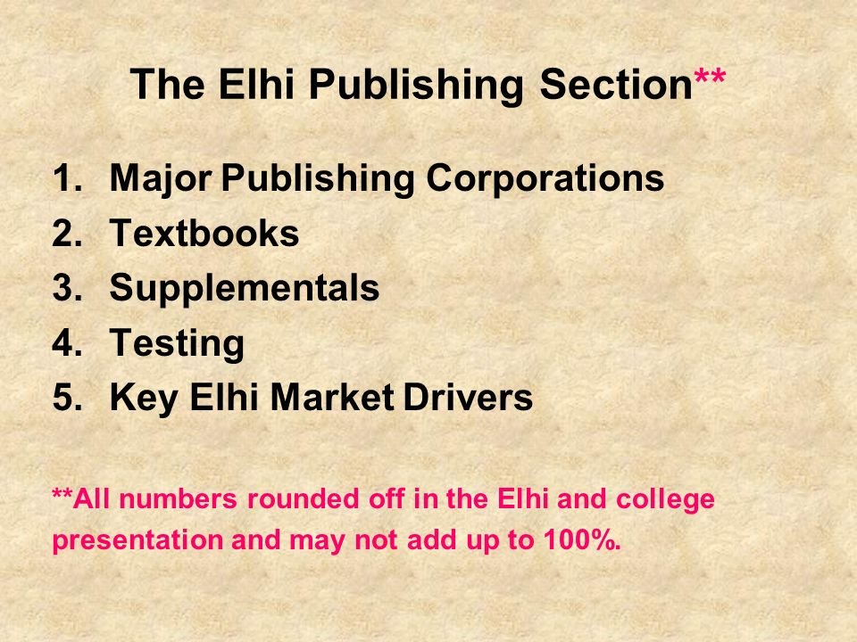 The Elhi Publishing Section**
