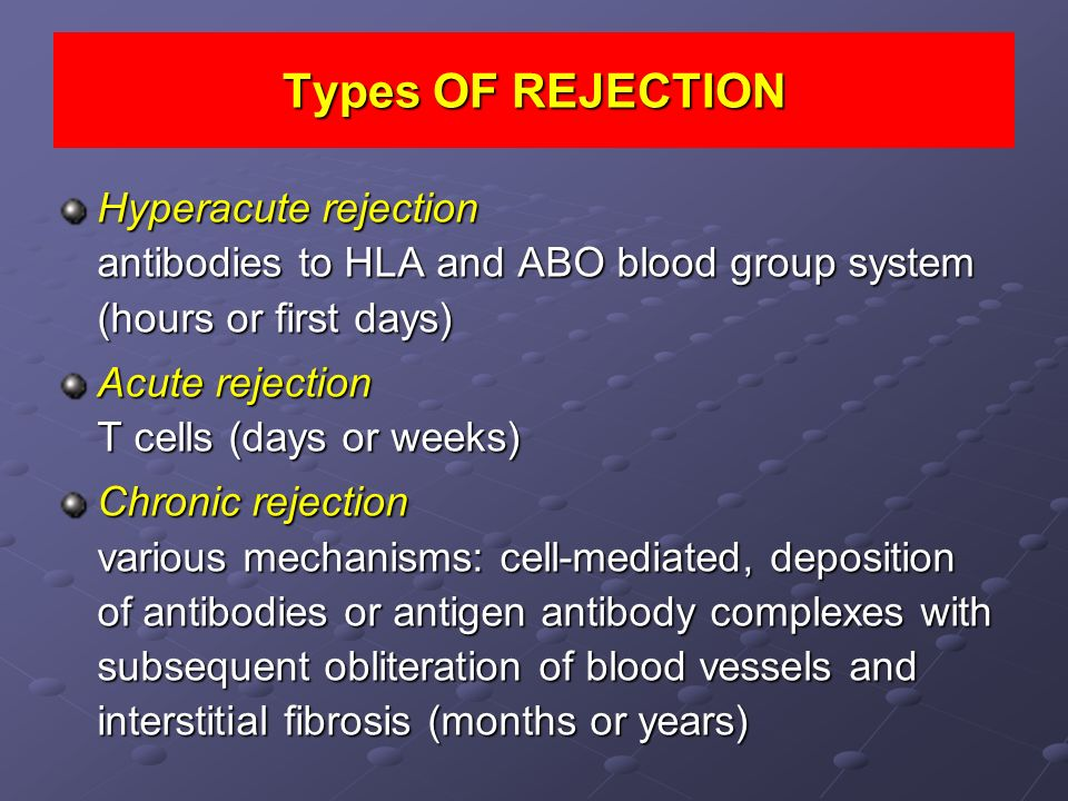 Types OF REJECTION Hyperacute rejection antibodies to HLA and ABO blood group system (hours or first days)