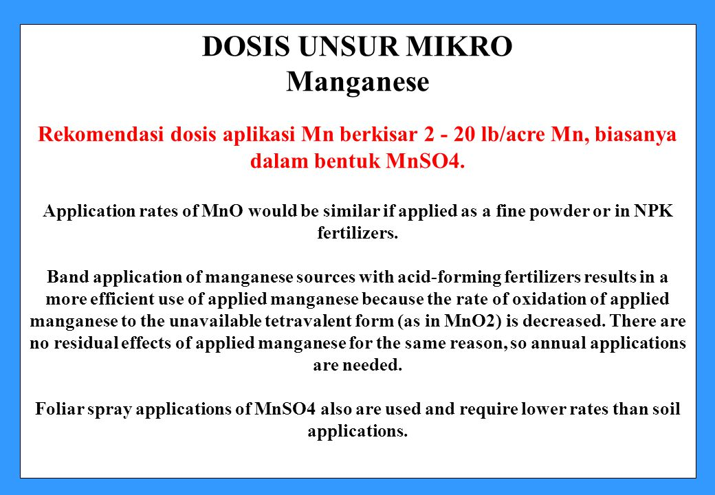 DOSIS UNSUR MIKRO Manganese