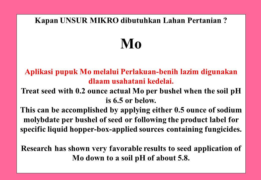 Kapan UNSUR MIKRO dibutuhkan Lahan Pertanian