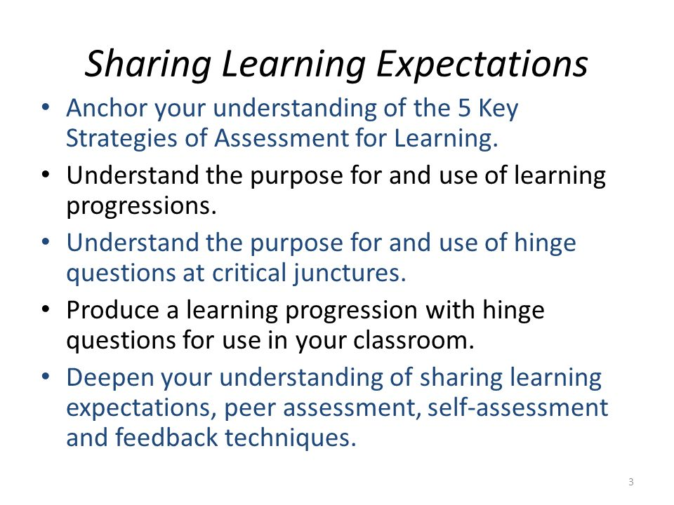 Sharing Learning Expectations