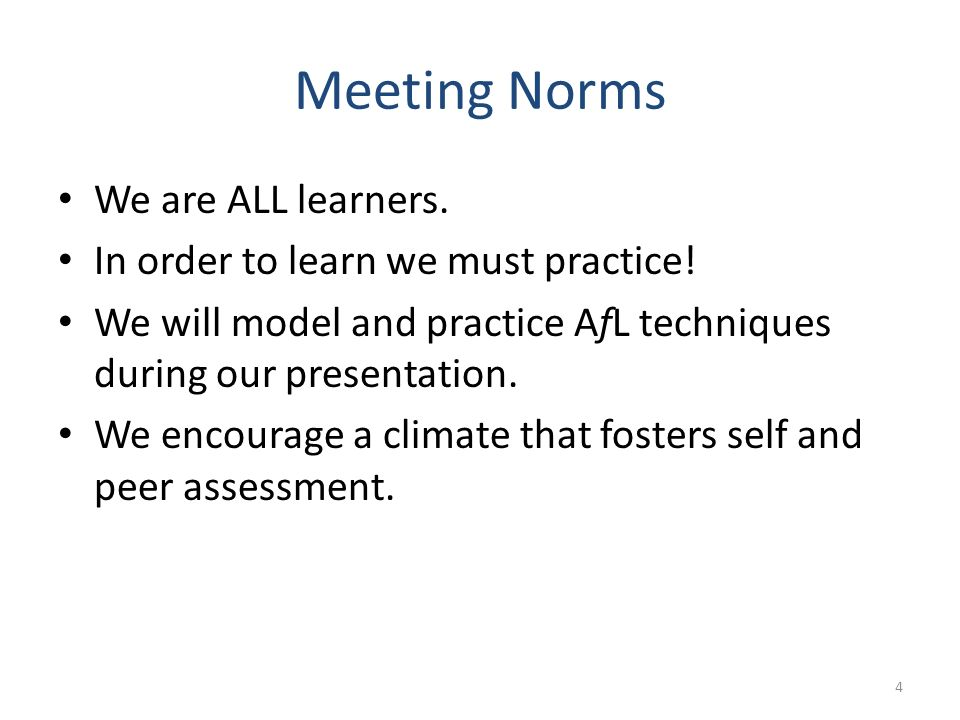 Meeting Norms We are ALL learners. In order to learn we must practice!