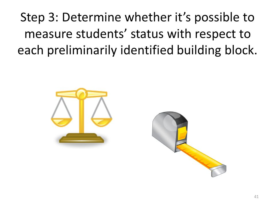 Step 3: Determine whether it's possible to measure students' status with respect to each preliminarily identified building block.