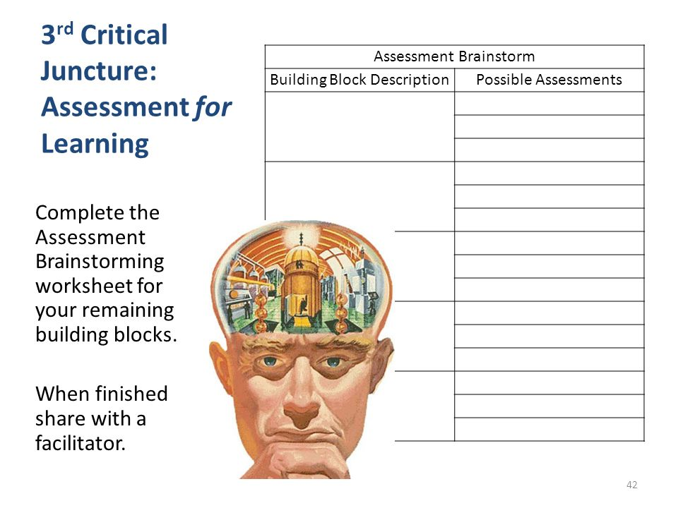 3rd Critical Juncture: Assessment for Learning