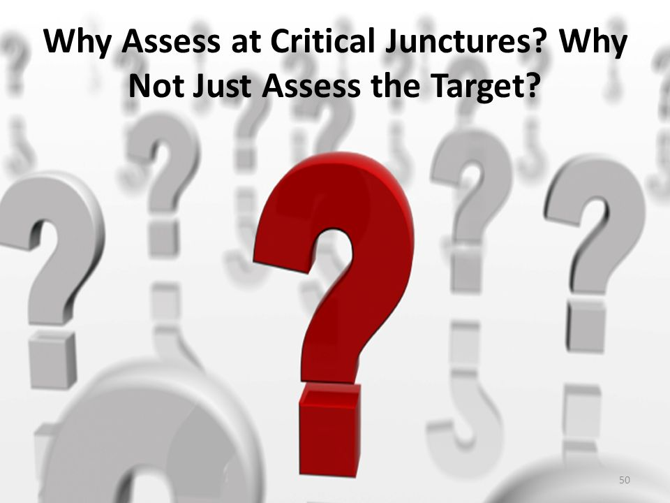 Why Assess at Critical Junctures Why Not Just Assess the Target