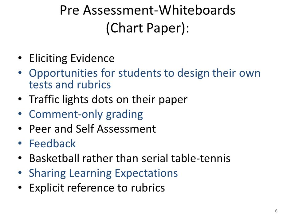 Pre Assessment-Whiteboards (Chart Paper):