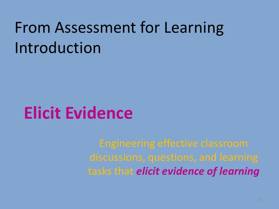 From Assessment for Learning Introduction