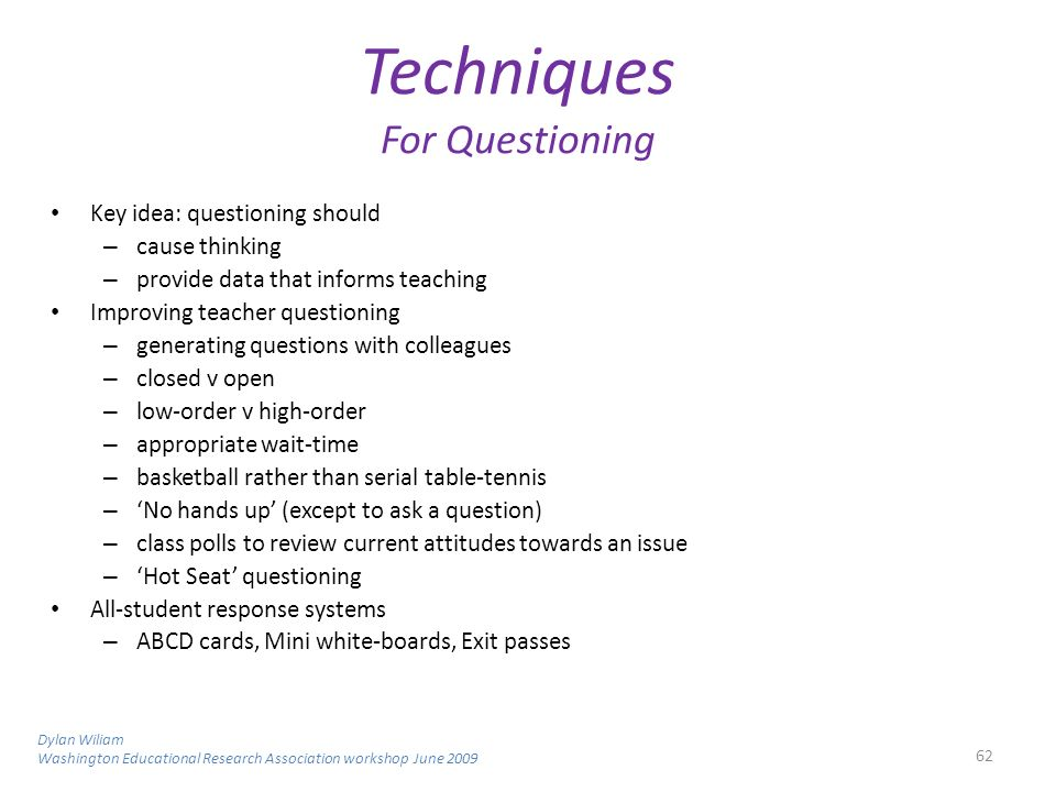 Techniques For Questioning