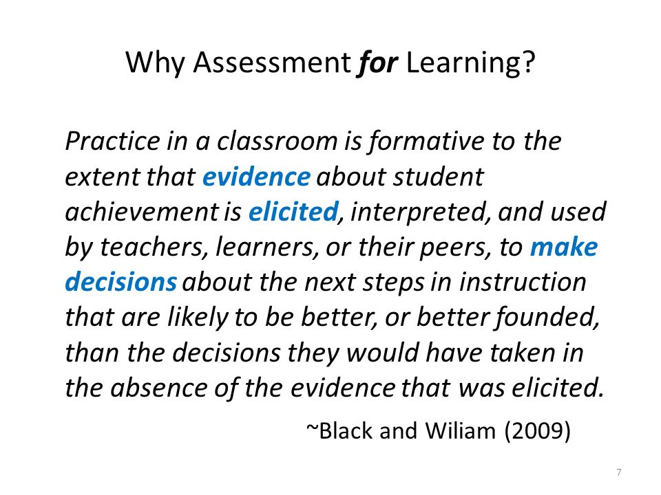 Why Assessment for Learning