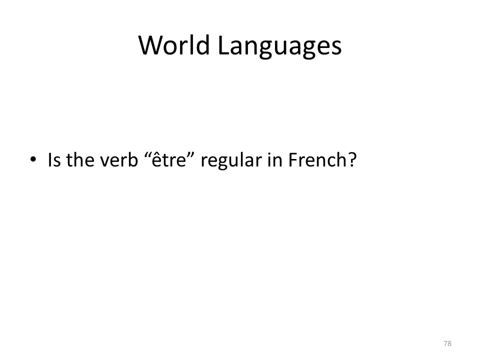 World Languages Is the verb être regular in French