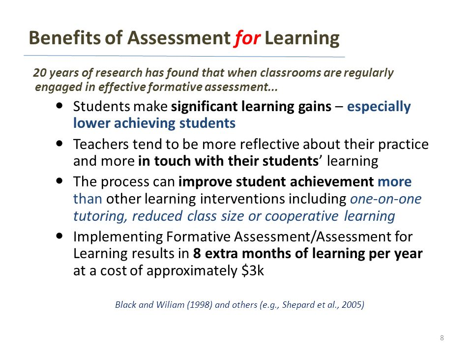 Benefits of Assessment for Learning