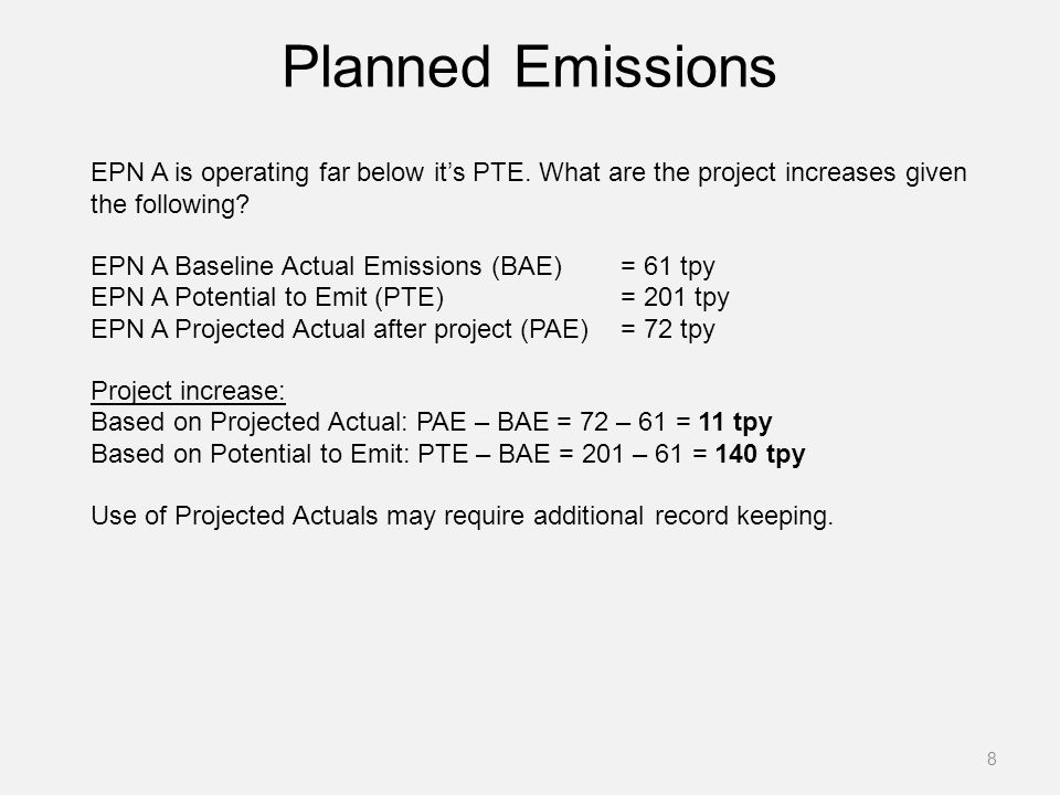 Planned Emissions
