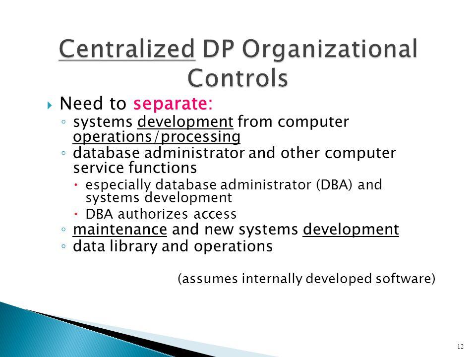 Centralized DP Organizational Controls