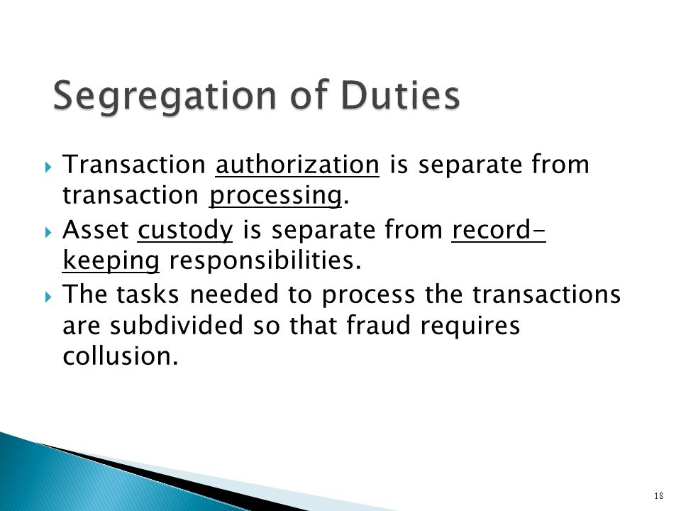 Segregation of Duties Transaction authorization is separate from transaction processing.