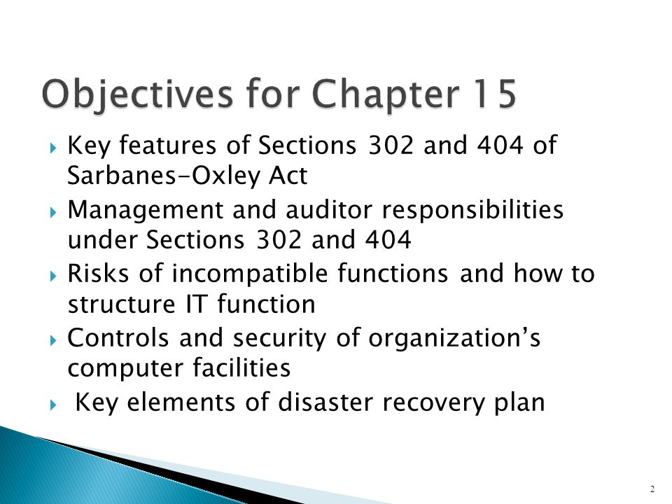 Objectives for Chapter 15