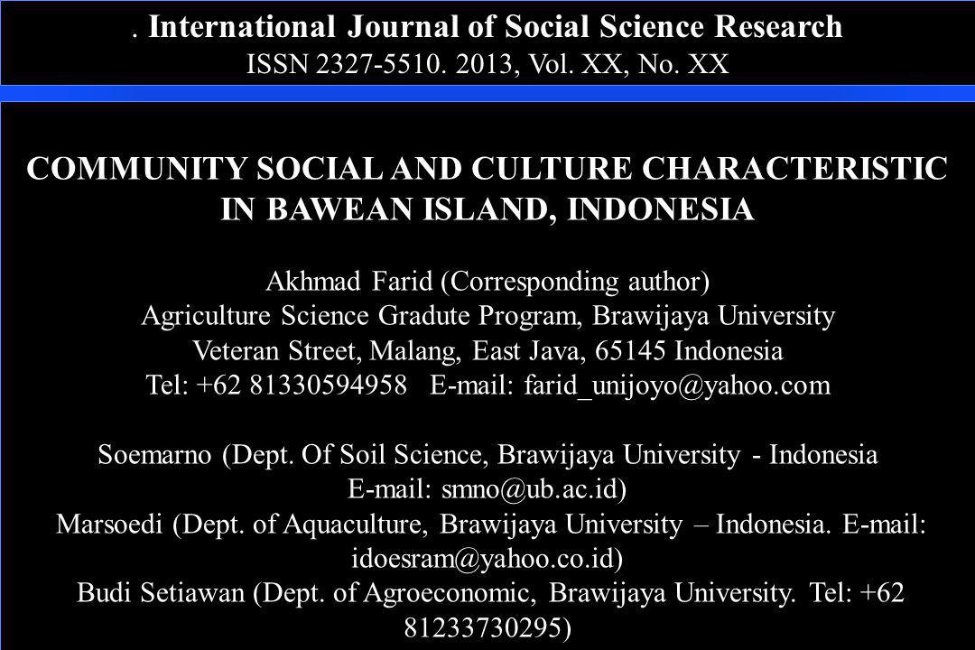 . International Journal of Social Science Research