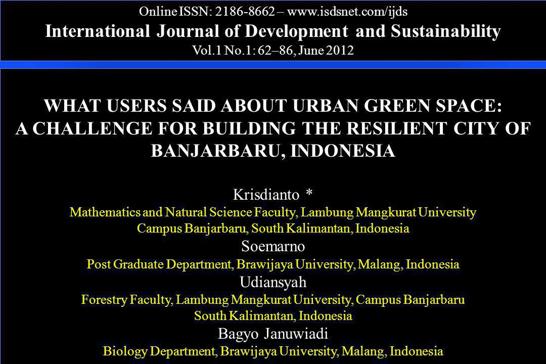 International Journal of Development and Sustainability