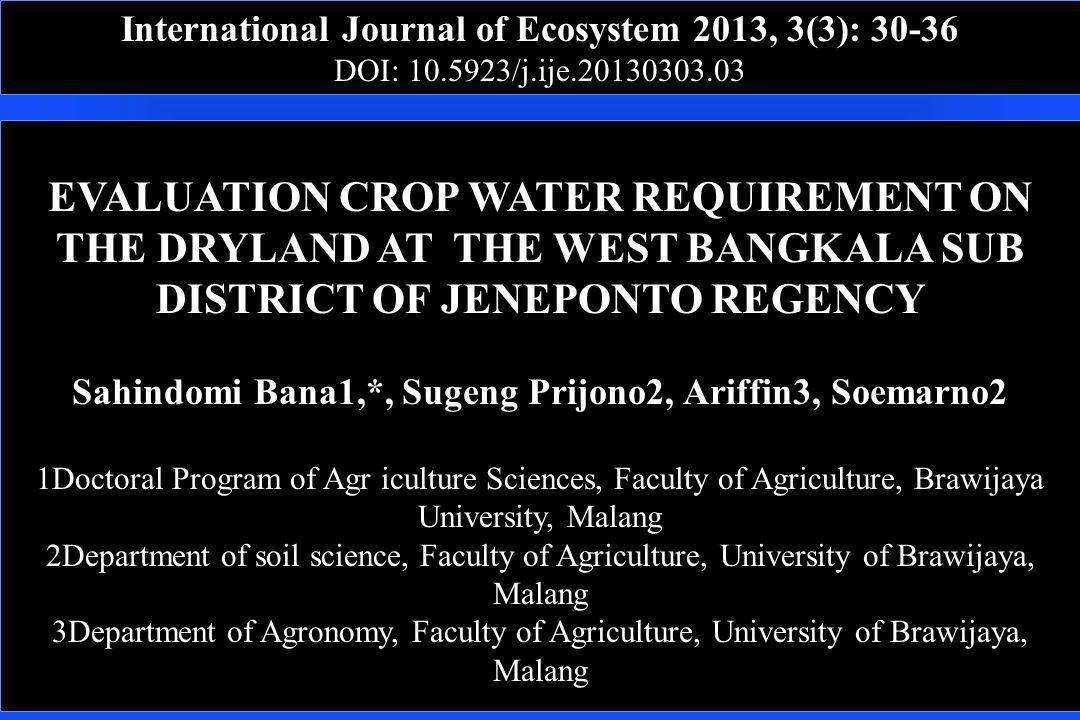 International Journal of Ecosystem 2013, 3(3): 30-36