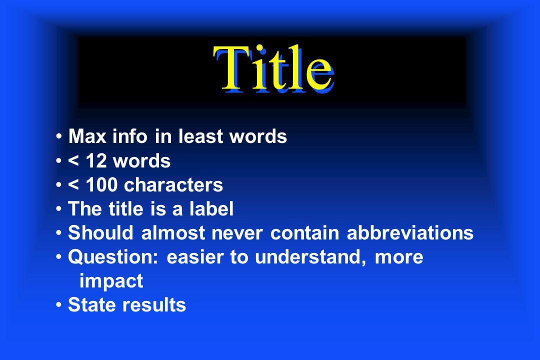 Title Max info in least words < 12 words < 100 characters