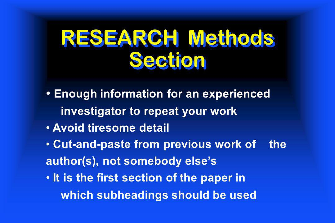 RESEARCH Methods Section