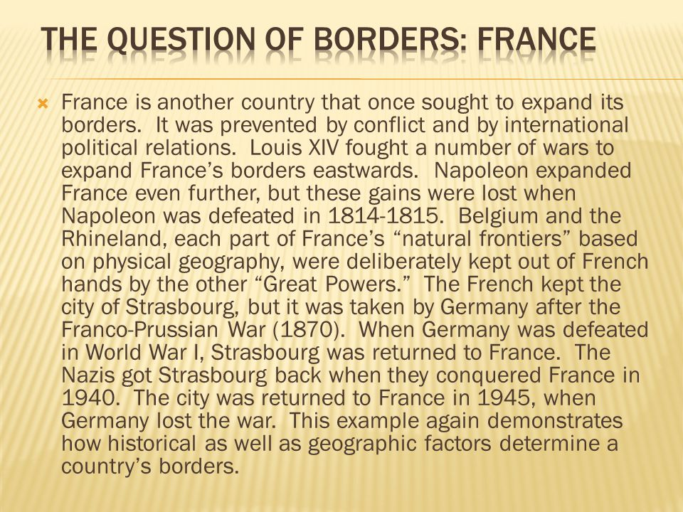 The question of borders: France