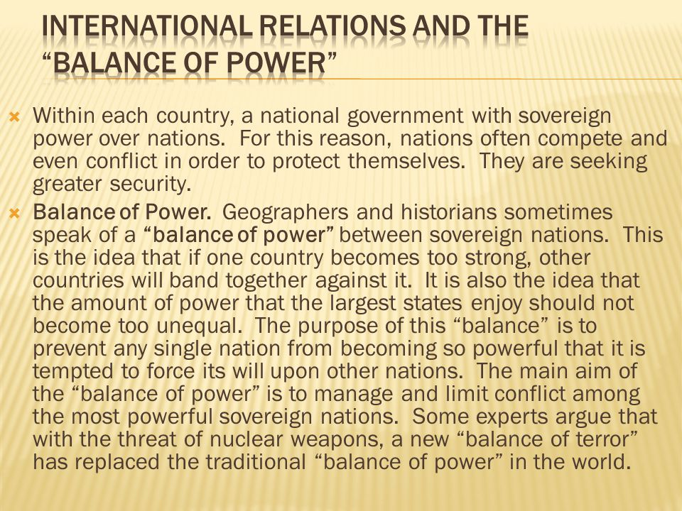 International Relations and the Balance of Power