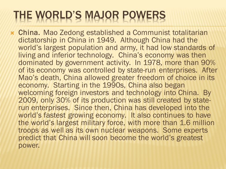 The World's Major Powers