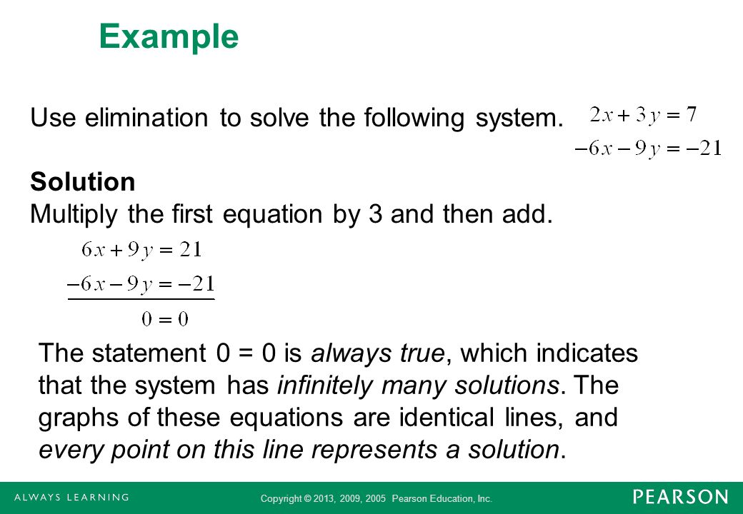 Example Use elimination to solve the following system. Solution Multiply the first equation by 3 and then add.