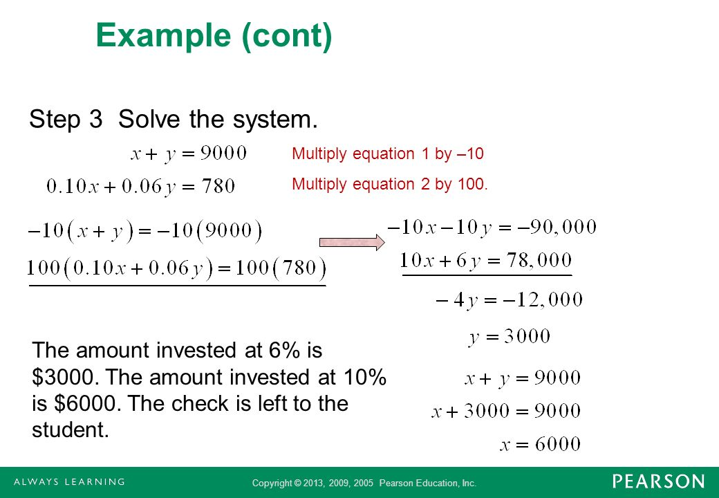Example (cont) Step 3 Solve the system.
