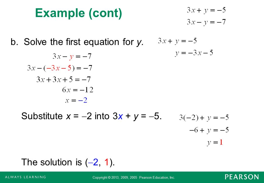 Example (cont) b. Solve the first equation for y.