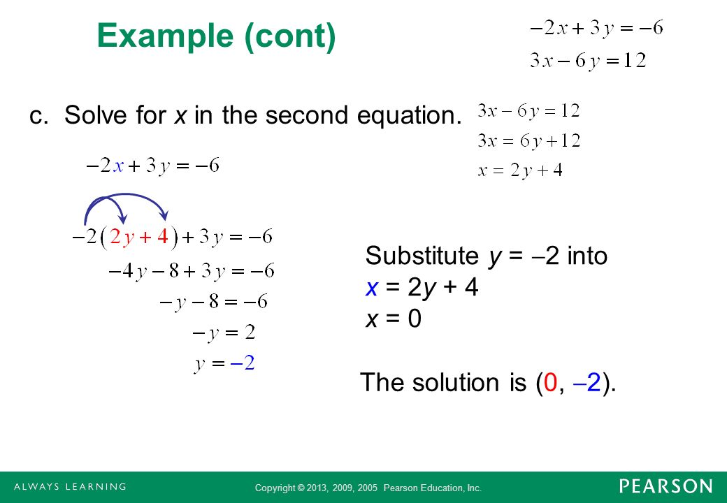 Example (cont) c. Solve for x in the second equation.
