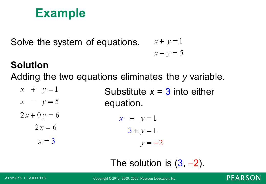 Example Solve the system of equations. Solution Adding the two equations eliminates the y variable.