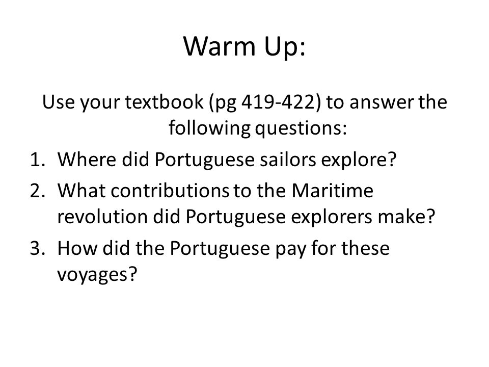 Use your textbook (pg 419-422) to answer the following questions: