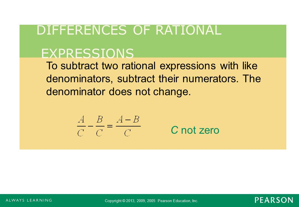 DIFFERENCES OF RATIONAL EXPRESSIONS
