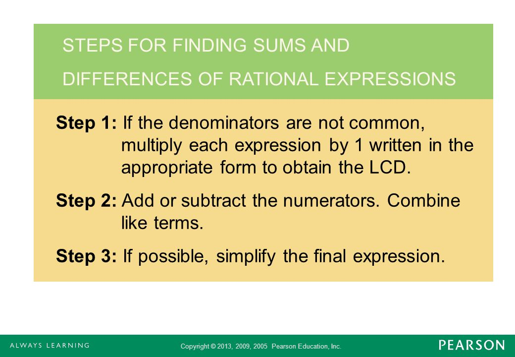STEPS FOR FINDING SUMS AND