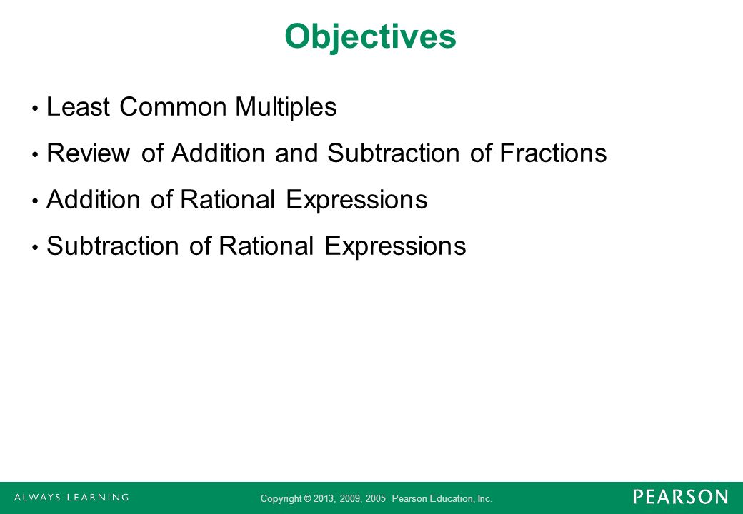 Objectives Least Common Multiples