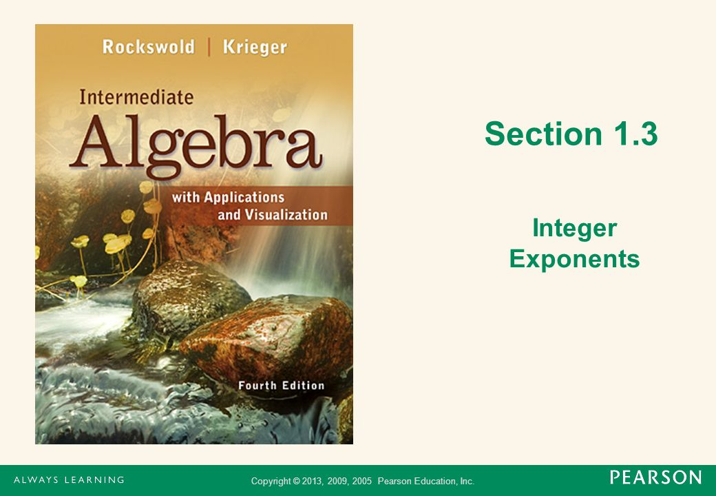 Section 1.3 Integer Exponents