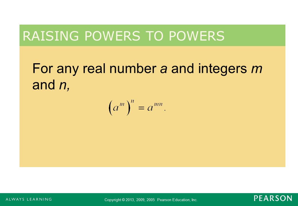 For any real number a and integers m and n,
