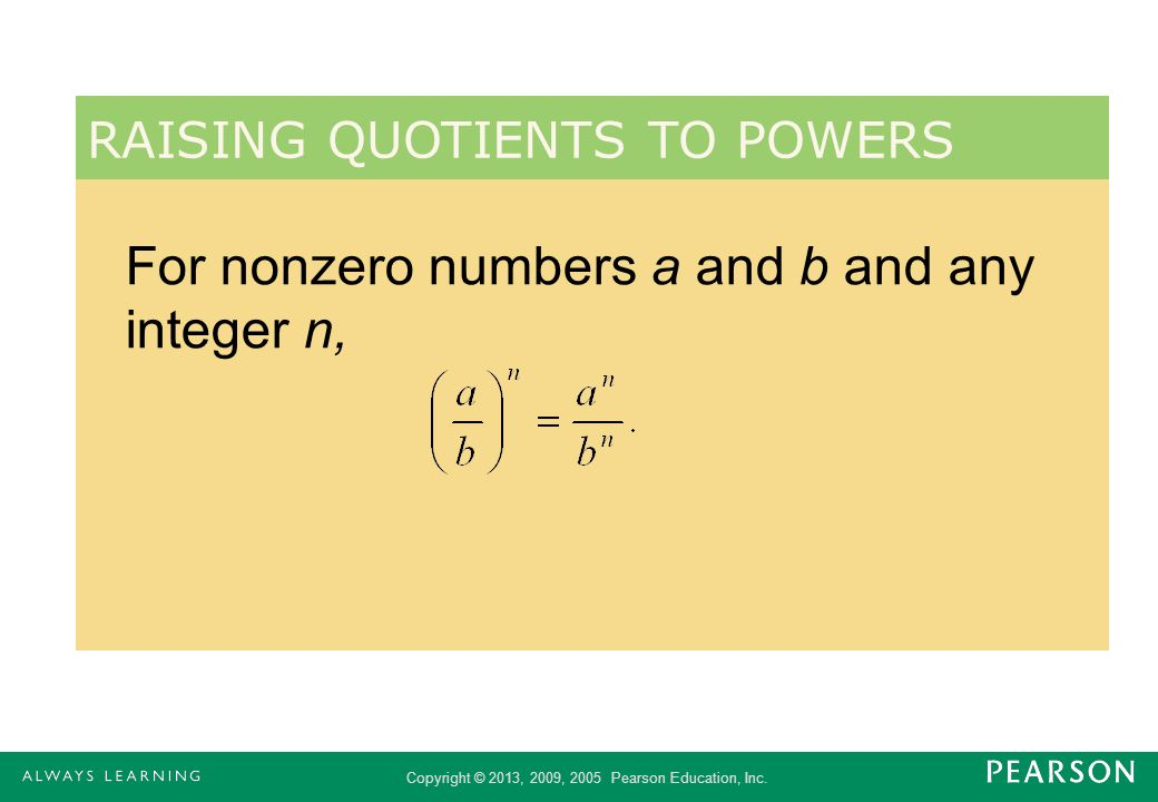 For nonzero numbers a and b and any integer n,