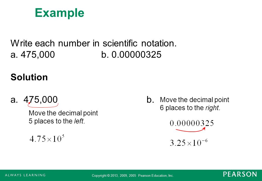 Example Write each number in scientific notation. a. 475,000 b. 0.00000325 Solution a. 475,000 b. Move the decimal point 6 places to the right.