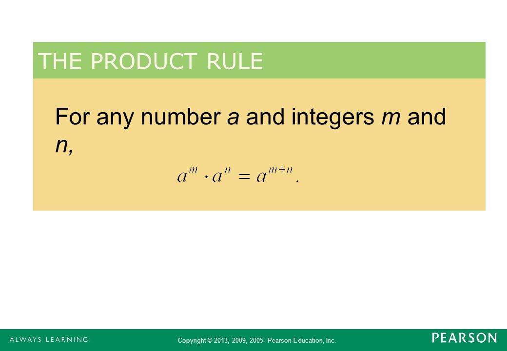 For any number a and integers m and n,